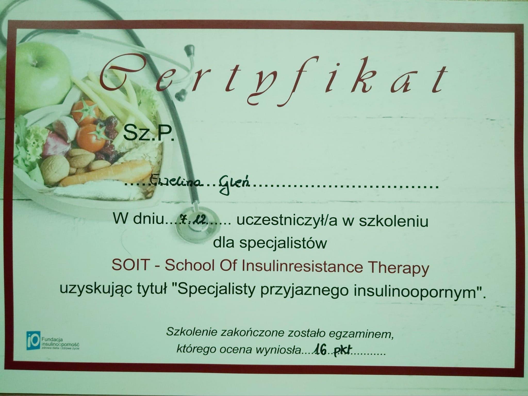 Certyfikat specjalisty przyjaznego insulinoodpornym