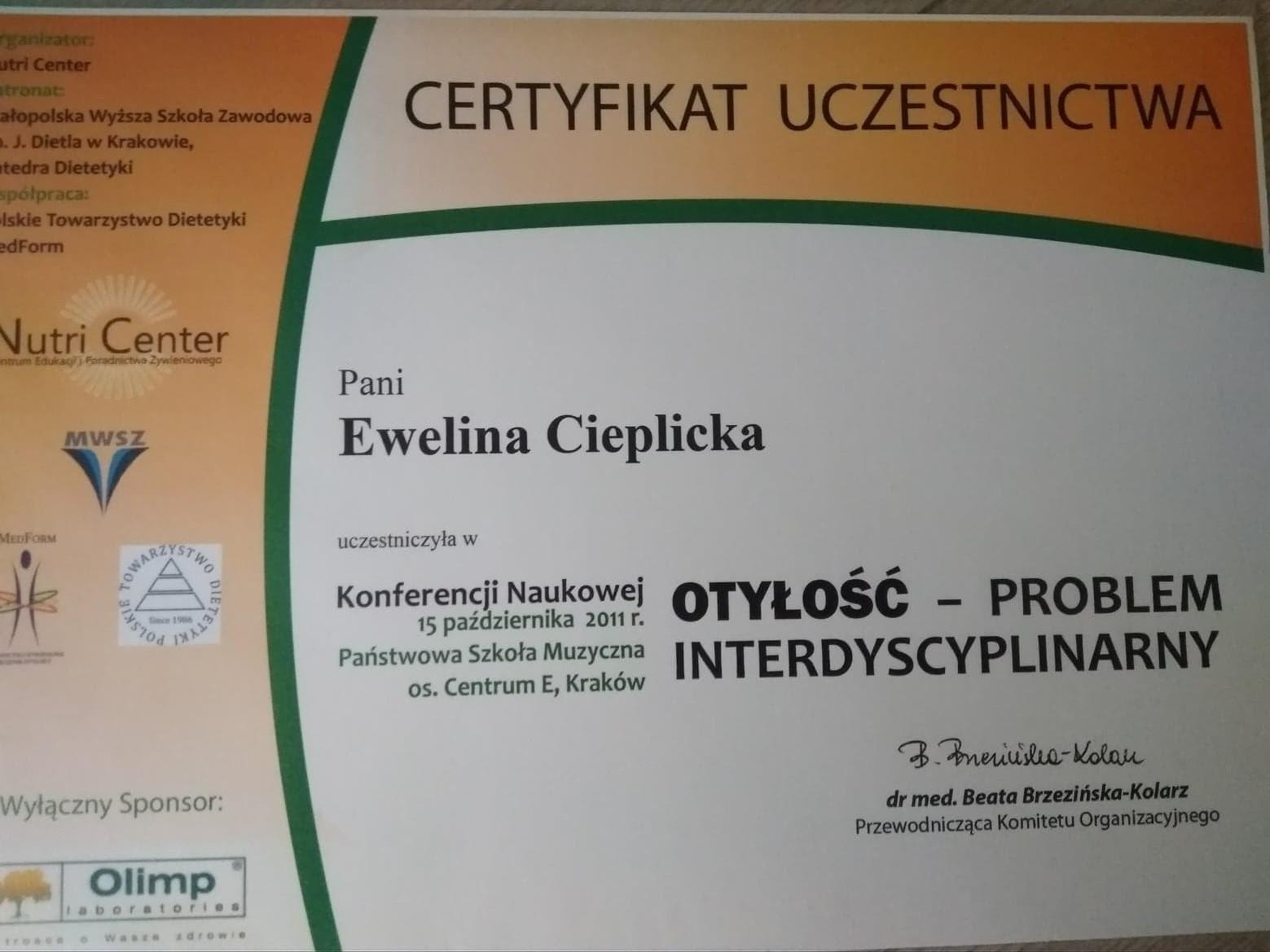 Certyfikat uczestnictwa w konferencji 'Otyłość - problem interdyscyplinarny'
