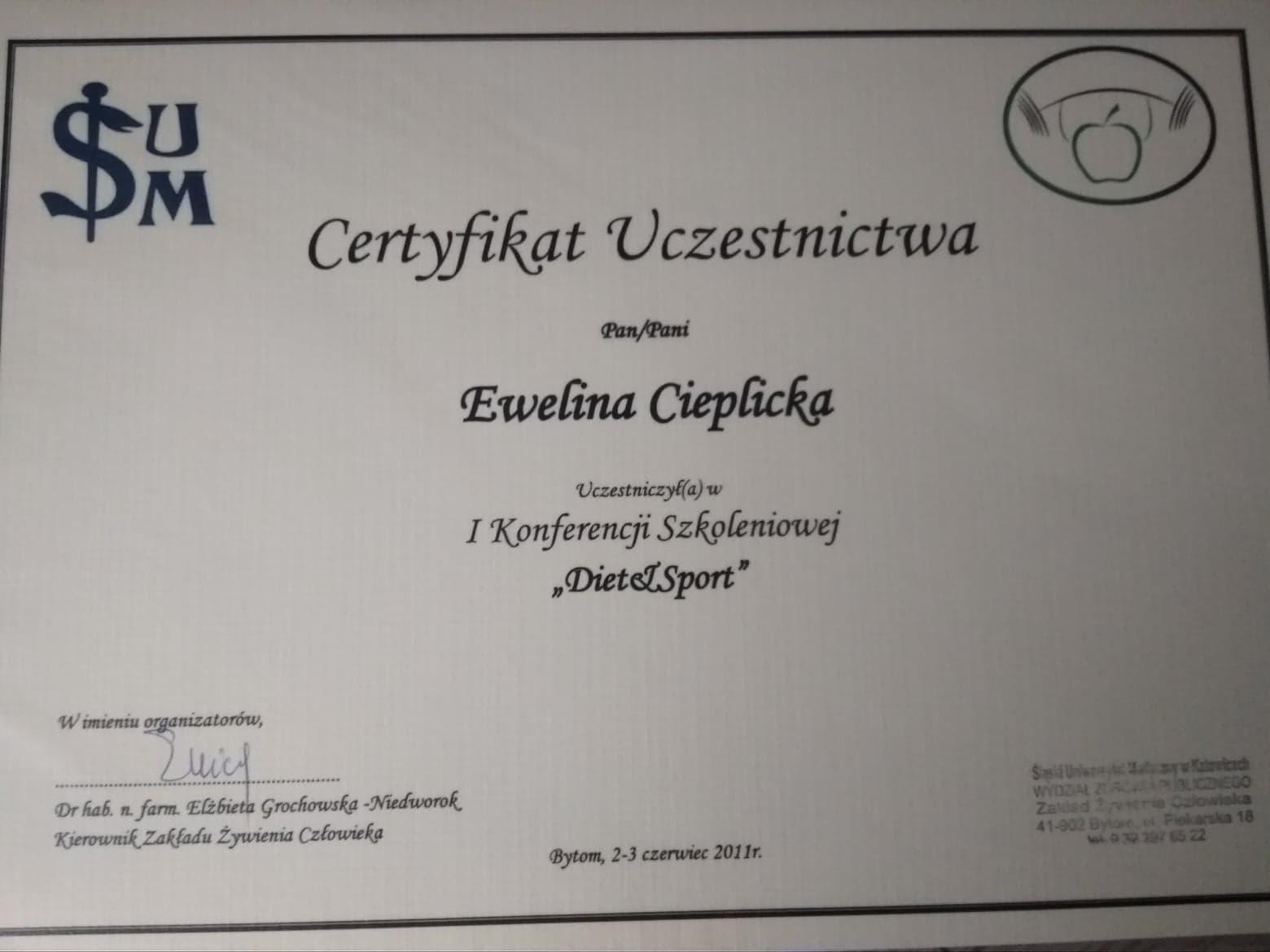 Certyfikat ukończenia szkolenia dieta i sport