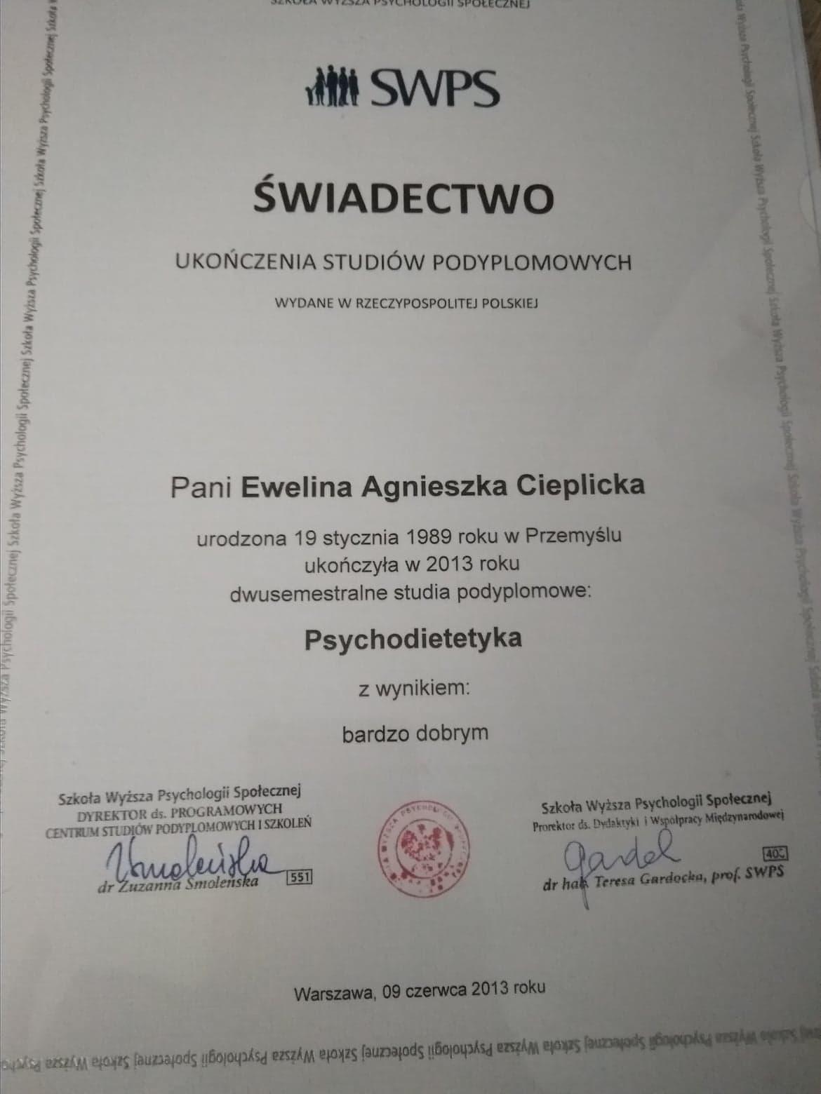 Certyfikat ukończenia stuidów na kierunku Psychodietetyka