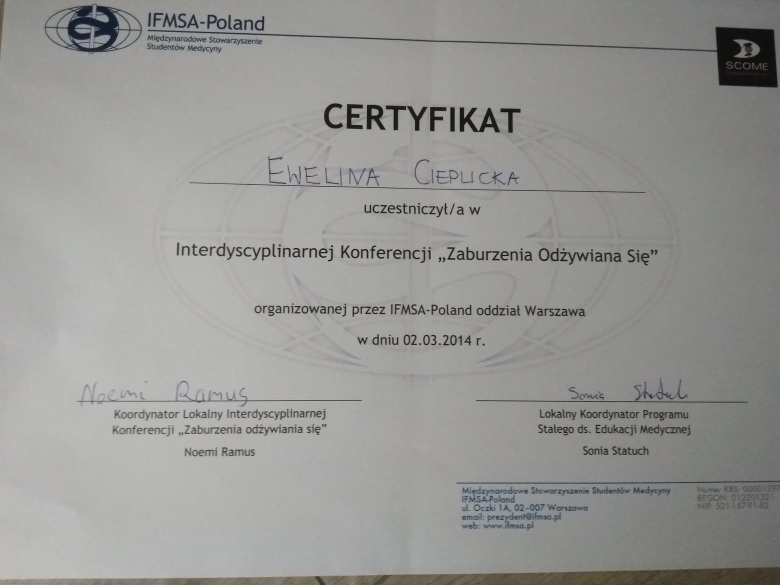 certyfikat uczestnictwa w konferencji Zaburzenia odżywiania się