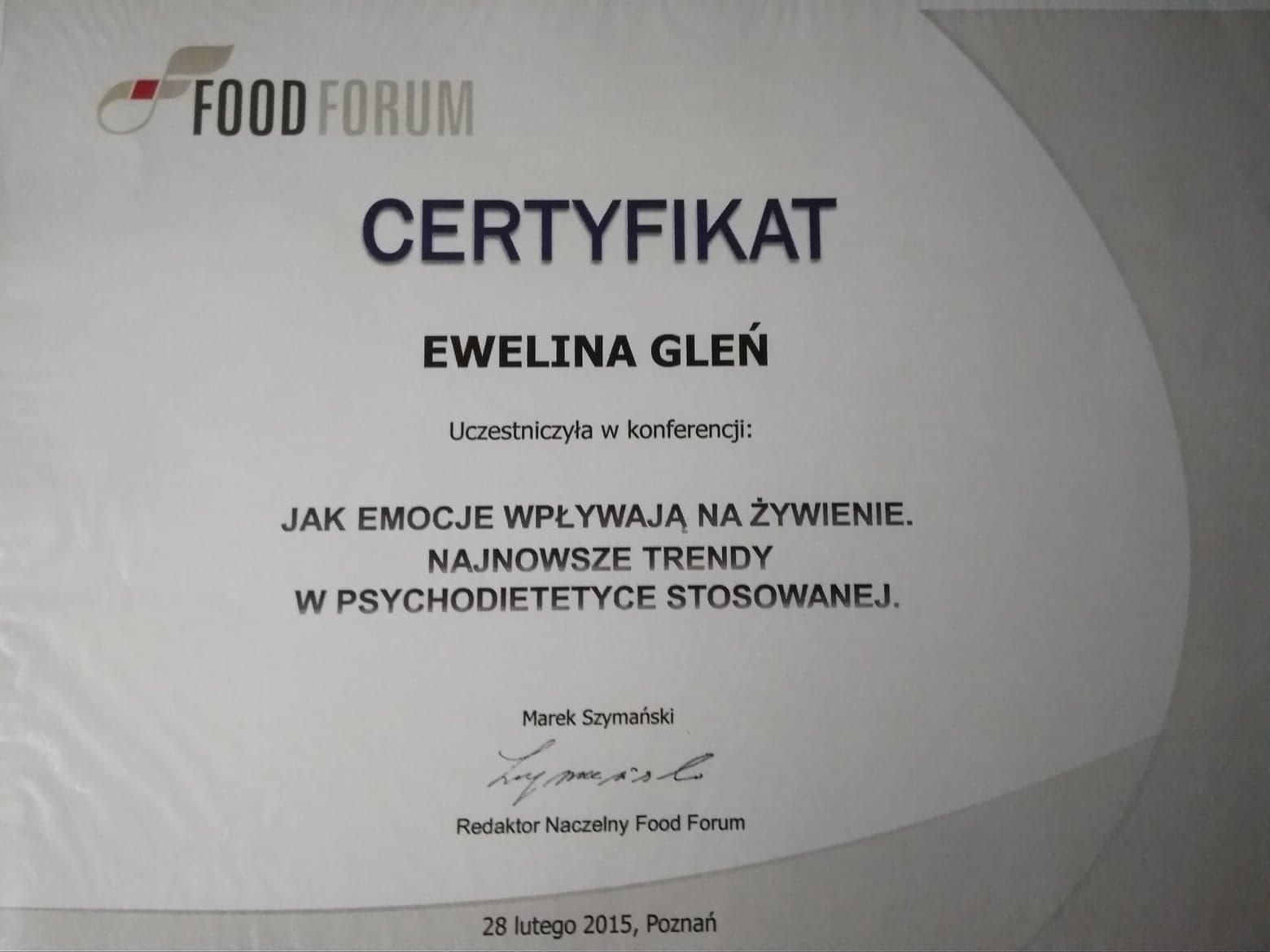 certyfikat uczestnictwa w konferencji 'Jak emocje wpływają na żywienie'